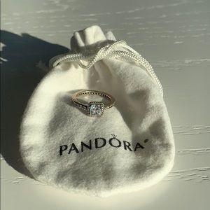 Square sparkle halo Ring - Pandora